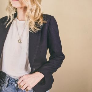 80s Navy Blue Cropped Open Wool Blazer